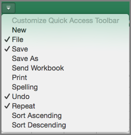 Office2016 for Mac Customize Quick Access Toolbar Menu