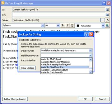 You can use the options in the Lookup for string dialog box to provide dynamic content for a task notification