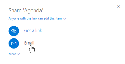 Screenshot of selecting Email in the Share dialog box in OneDrive