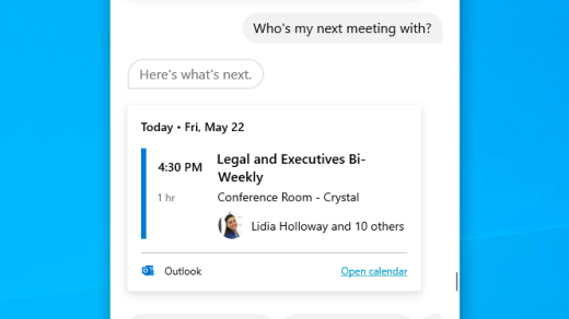 Find info on your next meeting with Cortana in Windows