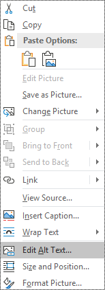 Alt text for images context menu in Outlook for Windows