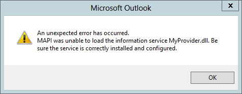 The error message saying MAPI was unable to load the information service DLL.