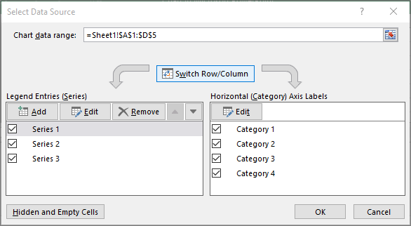 Shows Select Data dialog in PowerPoint