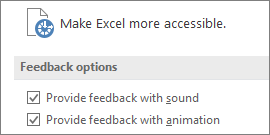 Partial view of Excel's Ease of Access Settings
