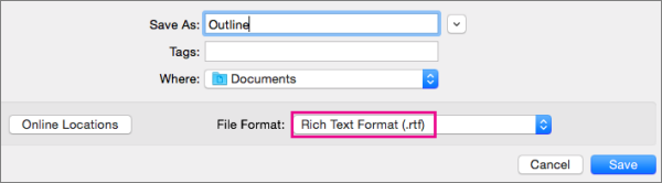 Saving as an .rtf file