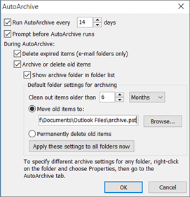 This is where you choose your autoarchive options.
