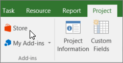 Screenshot of a section of the Project tab on the ribbon with a cursor pointing to the Store. Select Store to go to the Office Store and look for add-ins for Project.