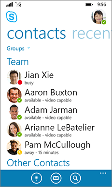 New Skype for Business for Windows phone look and feel--main window