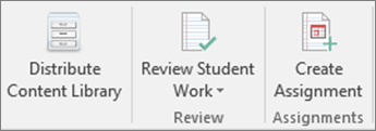 Row of icons listing Distribute Content Library, Review Student Work, and Create Assignment.