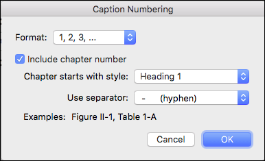 Automatically add chapter numbers to your captions in Word