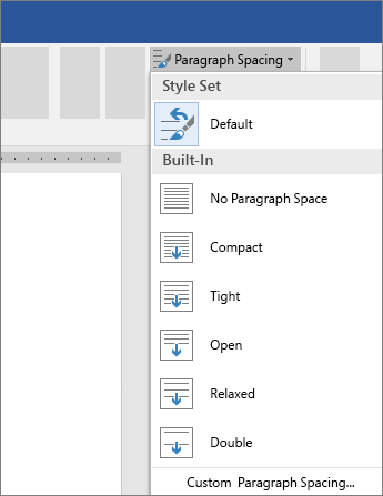 Options to change paragraph spacing in Word