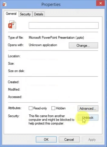 Error: Can't read file, or Presentation cannot be opened - PowerPoint