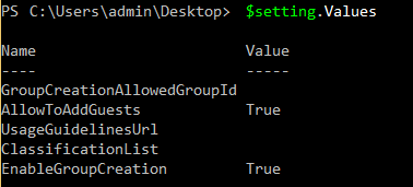 Group settings default values