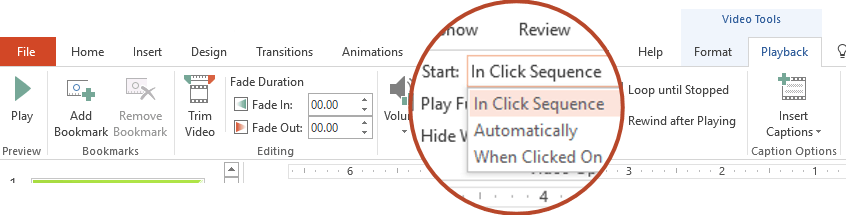 The Playback options for a video from your PC are: In Click Sequence, Automatically, or When Clicked On