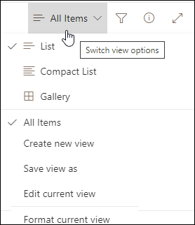 View options menu