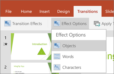 Shows the Transitions > Effect Options menu in PowerPoint for Android.