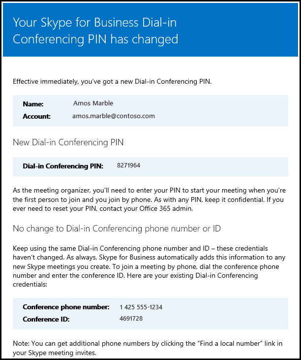 Dial-in conferencing PIN changed.