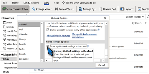 Outlook options dialog box with Cloud storage options section showing