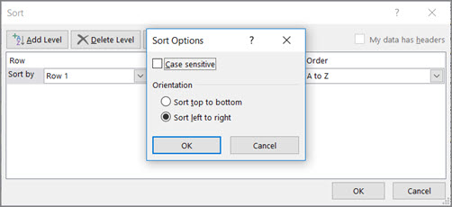 In the Sort Options box, click Left to Right