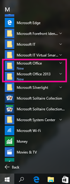 Office 2010 and Office 2013 in the All Programs list