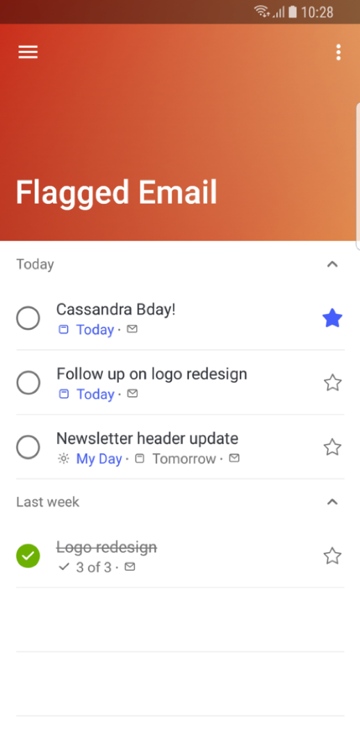 You can view your flagged email as to do items in Outlook Mobile