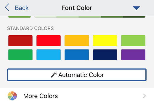 Automatic font color selection in Word for iOS.