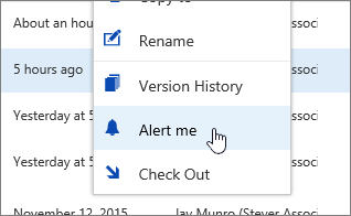 Ellipses menu with Alert Me highlighted