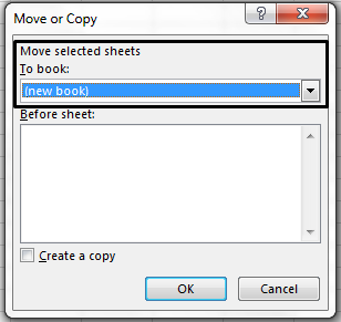 The Move or Copy dialog box