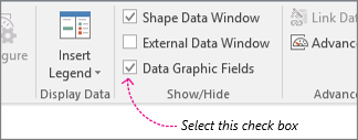 Data tab, Data Graphic Fields check box
