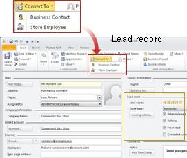 Lead record with Convert To button called out and box around Lead score section of record
