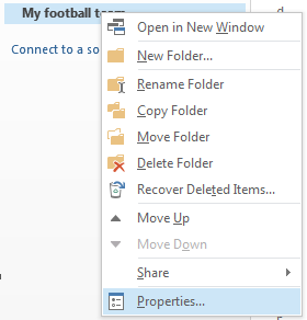 Right-click the new folder, and then click Properties.