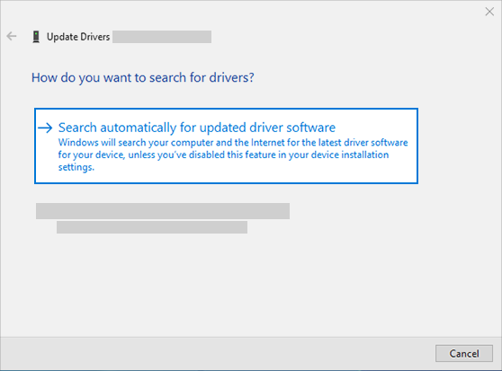 search automatically for updated driver software to update audio driver