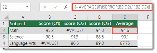 Array function in AVERAGE to resolve the #VALUE! error