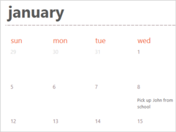 Calendar template in Excel Online