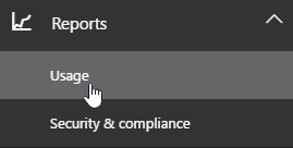 On the admin page choose Reports and then usage from the left navigation