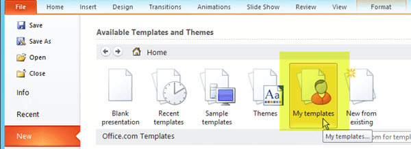 Create and save a powerpoint template powerpoint on the file tab of the ribbon select new then select the my templates toneelgroepblik