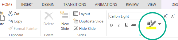 The Text Highlighter button is on the Home tab of the ribbon in PowerPoint Online