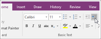 Screenhsot of the Increase Indent button in OneNote 2016.