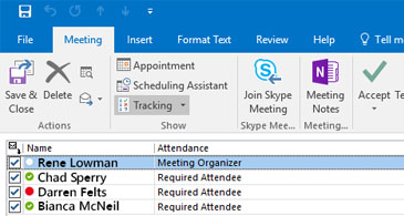 Meeting tracking status with responses