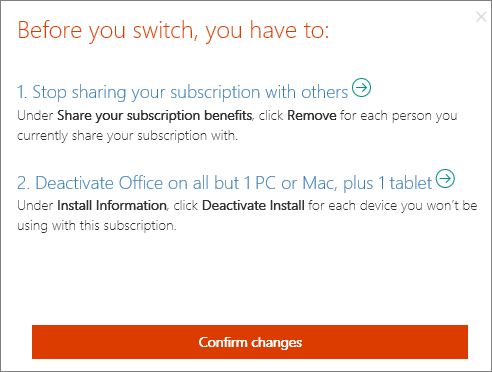 Actions you have to take before you can switch from Office 365 Home to Office 365 Personal.