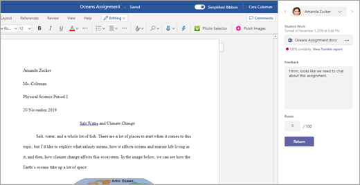 Assignment grading workflow with Turnitin results