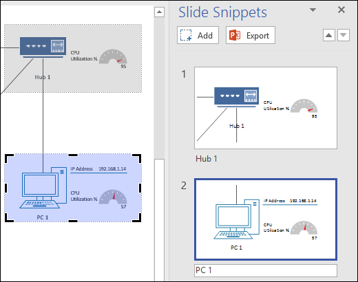 Screenshot of the Slide Snippents pane in Visio with two slide previews shown.