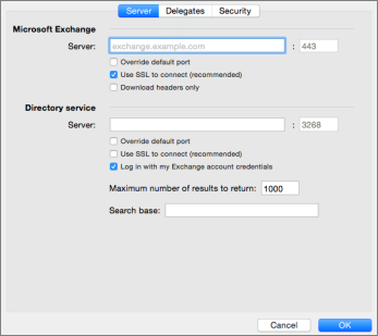 Exchange account server settings