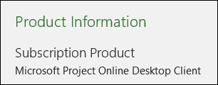 Project Information for Project Online Desktop Client