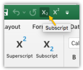 Screen shot showing the subscript and superscript buttons in the quick access toolbar and the ribbon.