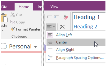 Screenshot of the Paragraph Alignment button in OneNote 2016.