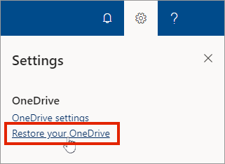 Settings menu for OneDrive for Business online with Restore highlighted