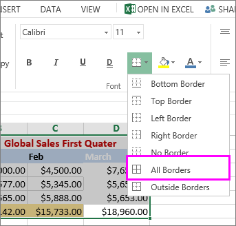 add a border to a table or data range