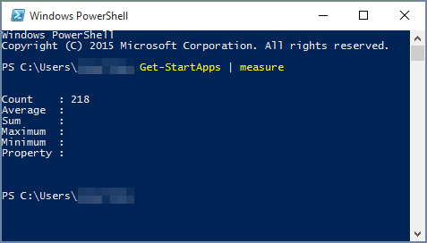 Windows PowerShell script with app count