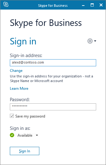 Screenshot of the Skype for Business sign-in screen.